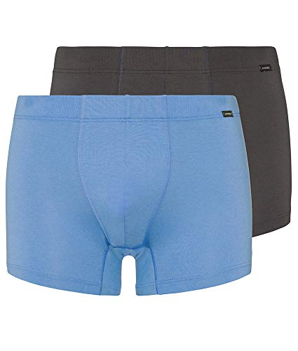 (HANRO Men's Cotton Essentials Boxer Brief with Covered Waistband 2-Pack, Atlantic/Concrete, Large)