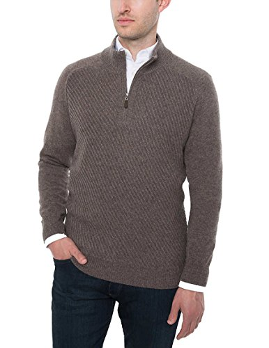 Brookmore Men's ¼ Zip Cashmere Sweater (Dark Brown, Medium)