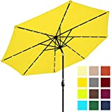 Best Choice Products 10ft Solar LED Lighted Patio Umbrella w/Tilt Adjustment, Fade-Resistant Fabric - Yellow