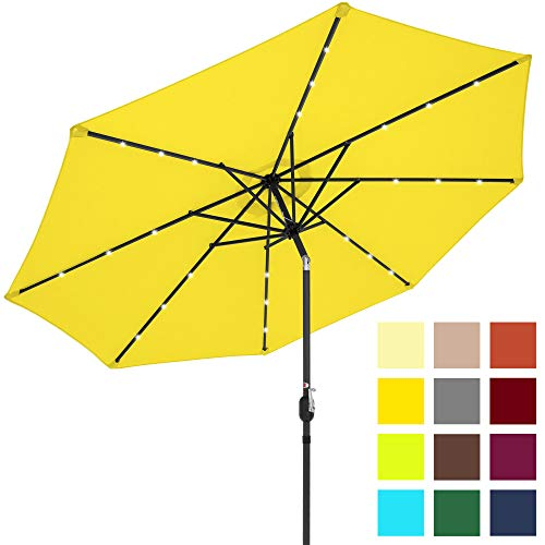 Best Choice Products 10ft Solar LED Lighted Patio Umbrella w/Tilt Adjustment, Fade-Resistant Fabric - Yellow (Outdoor Umbrellas Target)