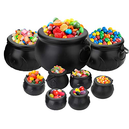 Tebery 9 Pack Black Cauldron Multi-purposed Novelty Candy Holder Pot with Handle for Halloween, Harry Potter, St Patrick's Day Party Favors -