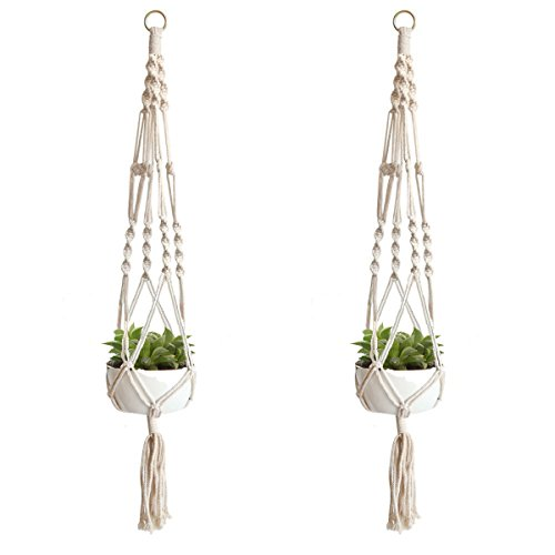 Ivy Pot Planter - Plant Hanger Indoor Outdoor Macrame Succulent Flower Potted Holder Perfect Father's Day Gift for Hanging Small Round and Square Planter Basket 40 inch Set of 2 White