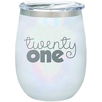 d469a4059b5 TSC Twenty-One Celebration Series Powder Coated BruMate 14 oz Stemless Wine  Glass-Glitter White