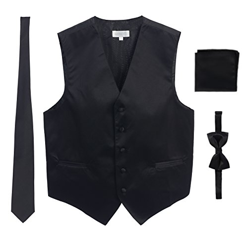 Men's Formal 4pc Satin Vest Necktie Bowtie and Pocket Square, Black, Large