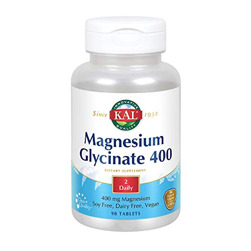 KAL Magnesium Glycinate 400 | Vegan, Chelated, Non-GMO, Soy, Dairy, and Gluten Free | 45 Servings