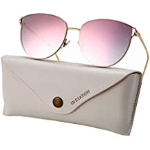 Oversized Sunglasses for Women, Mirrored Cat Eye Sunglasses with Rimless Design U225