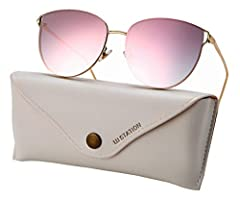 Looking for a perfect fashion pair of cateye sunglasses?              Keep your eyes safe and look amazing at the same time with these trendy cateye sunglasses from U.I station. These unisex sunglasses feature a cateye, rimles...