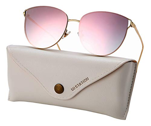 Oversized Mirrored Sunglasses for Women, Cat Eye Sunglasses, Rimless Sunglasses with Sunglasses Case (pink)