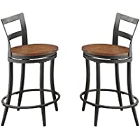 Homelegance Selbyville Counter Height Swivel Metal Dining Chairs (Set of 2), Gunmetal