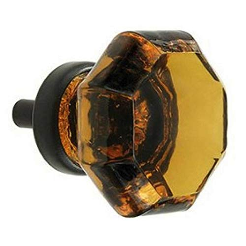 Fancy Drawer Pulls, Antique Glass Knobs and Cabinet Door Handles 6 Pack T28FN Amber Crystal Glass Octagon Style Knobs with Oil Rubbed Bronze Hardware. Romantic Decor & More -