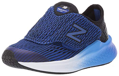 New Balance Boys' Fast V1 Fresh Foam Hook and Loop Running Shoe, Black/uv Blue, 6 W US Toddler