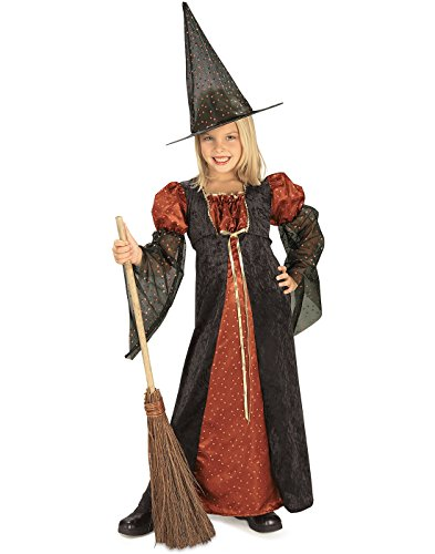 Girls Witch Halloween Costume (Halloween Concepts Child's Orange Glitter Witch Costume, Medium)