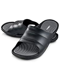 Roxoni Mens Slide Sandals Open Toe Flip Flop Beach and Shower Shoe ; Non-Slip Slipper with Great Arch Support