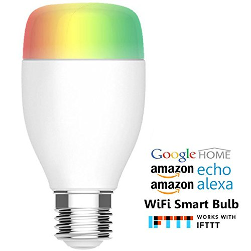 Megadream WiFi Smart Bulb, E27 Dimmable Multicolor RGBW LED Mood Light IOS Android Remote, Voice Control, Auto Wake Up - 50W Up to 50,000 Hours Life, Compatible with Amazon Alexa & Google Home & IFTTT