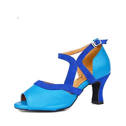 De toe Womens Moderne Latine Talons Wymname Fond Chaussures D'intérieur Sandales Danse Bleu Mou Moyens peep ZqwpxBYE