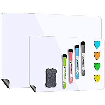 Magnetic Whiteboard for Refrigerator 17''x12'' with Extra Smaller Board 12''x10'',Dry Erase Fridge Whiteboard,4 Magnetic Markers and1 Eraser Included