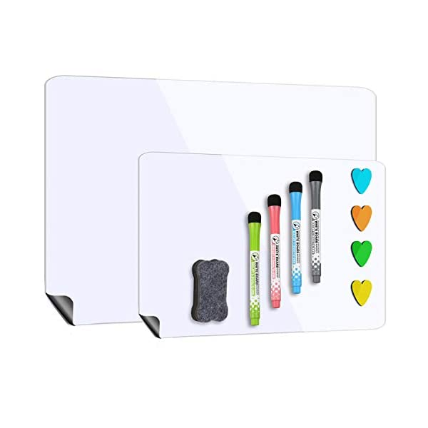 """Magnetic Whiteboard for Refrigerator 17""""x12"""" with Extra Smaller Board 12""""x10"""",Dry Erase Fridge Whiteboard,4 Magnetic Markers and1 Eraser Included"""