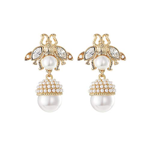 QANCI Cute Bee Imitation Pearl Gold Plated Insect Drop Dangle Earrings for Women Fashion Unique Gifts for Girls