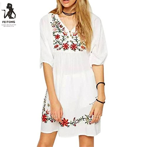 76a163a1cf3e7 AmyDong Hot Sale! Ladies Dress, Women Mexican Ethnic Embroidered ...