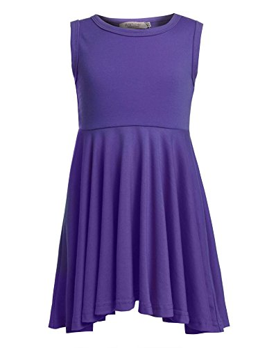 (Balasha Girls Solid Color A Line Sleeveless Skater Dress, Purple, 90(Age for 2-3Y))