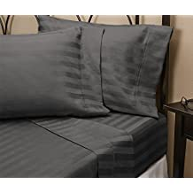 600-Thread Count American Home Bed 1-Piece Fitted/Bottom Sheet with 22'' Deep Pocket Grey Striped Queen Size 100% Egyptian Cotton Made by SRP LINEN