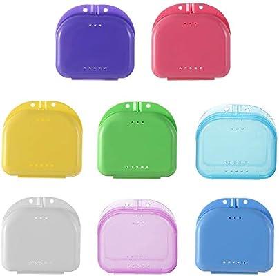 Estuche retenedor, estuche portátil de 8 piezas para protector bucal con orificios de ventilación Contenedor de ortodoncia para almacenamiento de dentaduras postizas para viajes de oficina en casa: Amazon.es: Belleza