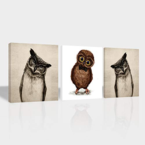 Purple Verbena Art Animals Canvas Wall Art, Modern Owl Picture Painting Artwork Home Wall Art Decoration for Living Room Bedroom Office Hotel,Stretched and Framed 16x16 Inch x3pcs/Set -