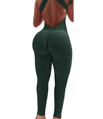 TRESXS Women Ruched Butt Lift Yoga Fitness Backless Workout Overalls Pants Gym Scrunch Booty Butt Jumpsuits Green(S)