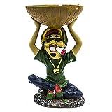 Rockin Gear Rasta Figurine Ashtray - Jamaican Man Smoking Marijuana Joint Ashtray - Weed Hemp Pot Cannabis Party Accessory (Green)