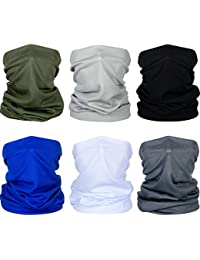 Summer Face Cover UV Protection Neck Gaiter Scarf Sunscreen Breathable Bandana (Black, Dark Grey, Light Grey, Army Green, Royal Blue, White, 6)