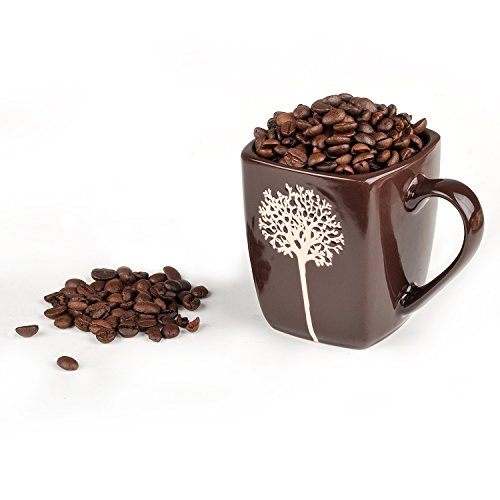 Unique Handmade Ceramic Coffee Cup 10 oz By Prakash: Amazing Handcrafted Creative Mug With Handle & Personalized Design for Milk, Hot Chocolate & Tea-Perfect Birthday Gift for Women & (Square Coffee Mug)