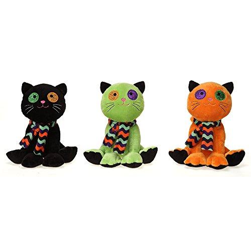Halloween Plush Cat Figures, Black, Orange & Green - 9