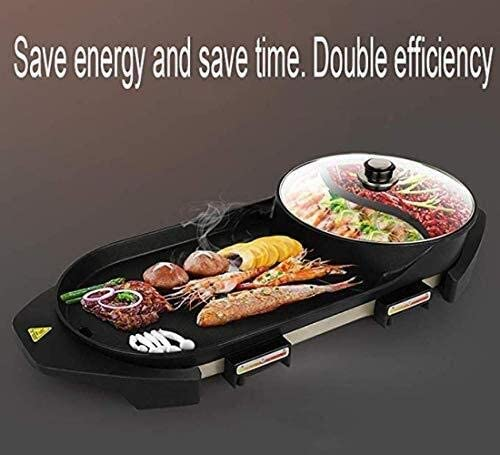 AZHom Barbecue électrique Multifonction Deux-en-un Barbecue électrique sans fumée antiadhésif Plaque de cuisson grillée for Shabu-Shabu Barbecue sans fumée 2200W