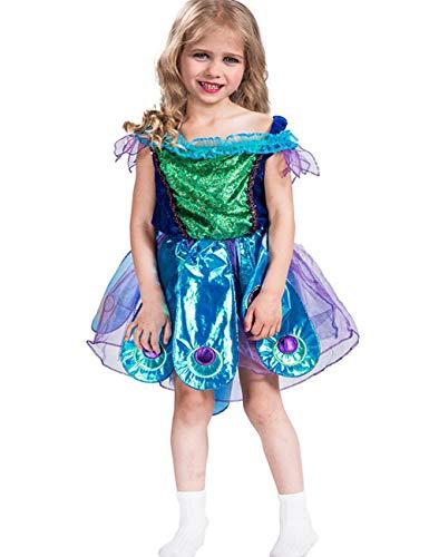 A&J DESIGN Toddler Girls' Peacock Costume Dress (Peacock, S) ()
