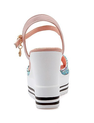 Wedge Black Sandals White Casual White Wedges Pink Heel Womens ShangYi Leatherette Shoes FqxCgaa4