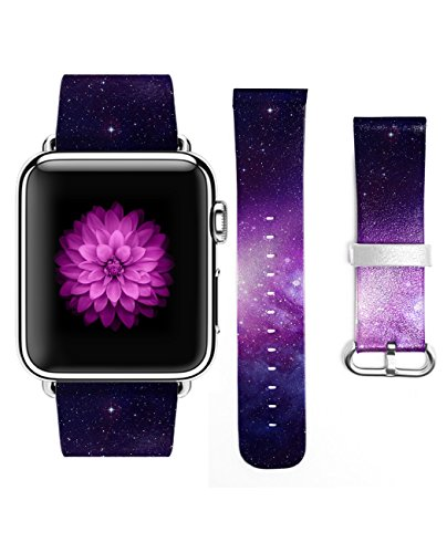 Genuine Leather Purple Galaxy Pattern