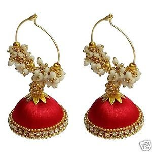 Buy Earrings Red Silk Jewellery At Amazon In