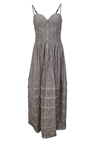 Betsey Johnson Women's Brown Grey Floral Lace Wedding Corset Gown, 10