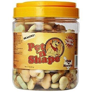 Pet 'n Shape Chik 'n Biscuits Natural Dog Treats, 1-Pound Tub New