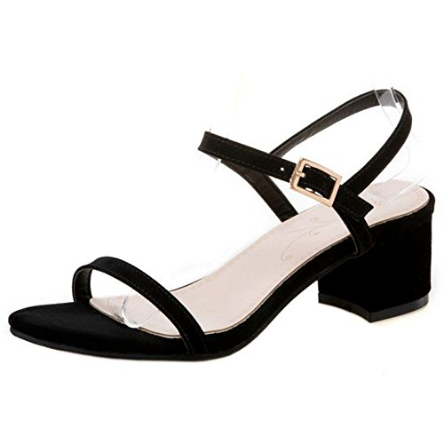 COOLCEPT Women Fashion Ankle Strap Sandals Middle Block Heel Open Toe Slingback Shoes Size Black