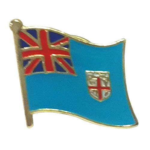 Fiji Rugby Flag Pin with Butterfly Clasp Backing (Fijian pin, 0.75