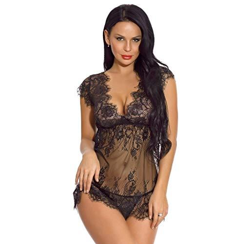 ✪COOLGIRLS✪ Women Sexy Lingerie Eyelash Lace Chemise Babydoll Nightwear Set Sleepwear Sheer Nightgown Black
