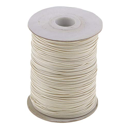 (170M 1mm Waxed Cotton Cord Beading String for Jewelry Making Macrame Supplies | Color - Beige)