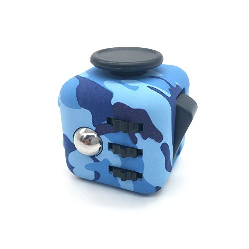 Price comparison product image Weemboo 6 Sided Fidget Cube [ Camo Stress Cube ] - Stress Anxiety and Boredom ReliefToy, Anti-anxiety and Depression Toys for Children and Adults (Blue)