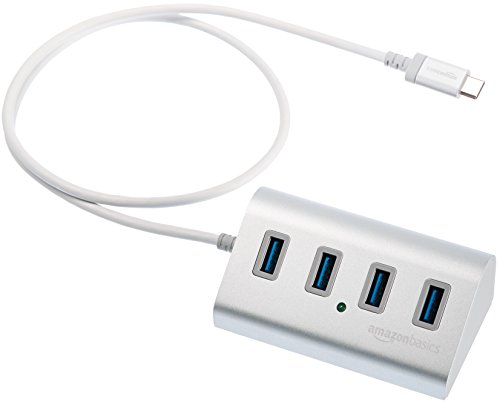 AmazonBasics USB 3.1 Type-C to 4-Port Aluminum Hub, Silver