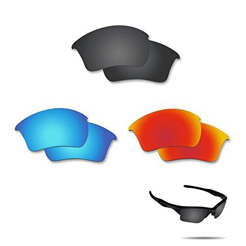 Fiskr Anti-saltwater Polarized Replacement Lenses for Oakley Half Jacket 2.0 XL 3 Pair - Lenses 2.0 Oakley Jacket Xlj Half