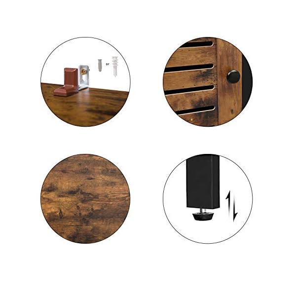 HOOBRO Meuble de Rangement avec 3 étagères ouvertes, 2 interne planche réglable, Portes Persiennes, Buffet, Armoire de…