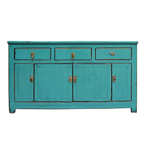 Chinese Buffet Cabinet - Chinese Distressed Rustic Teal Blue Sideboard Buffet Table Cabinet Acs4904