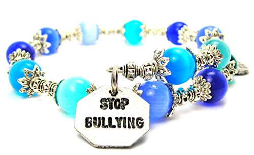 Stop Bullying Cat's Eye Wrap Charm Bracelet in Sapphire Blue and Aqua Blue