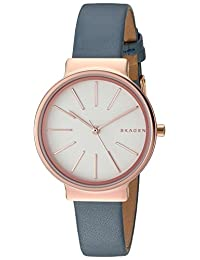 Skagen Women's 'Ancher' Quartz Stainless Steel and Leather Automatic Watch, Color:Blue (Model: SKW2482)